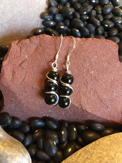 Jewelry with Meaning Dangle Earrings Earrings Grounding and Shields Against Negativity Obsidian and Sterling Wire Wrapped Earrings