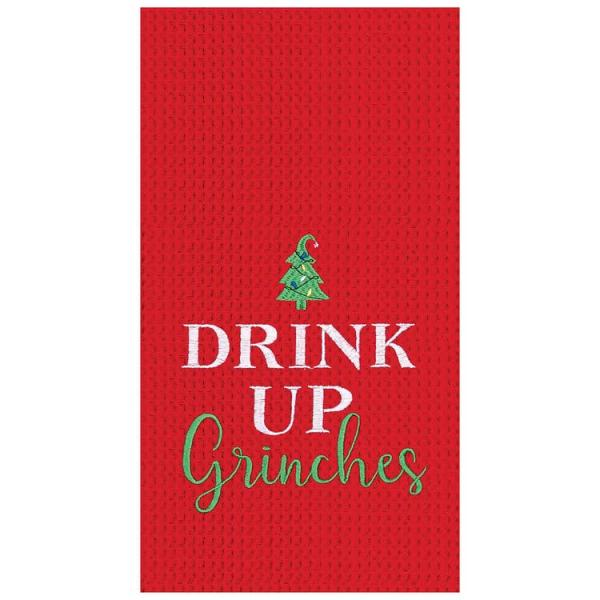 Drink Up Grinch's Waffle Weave Embroidered Kitchen Towel