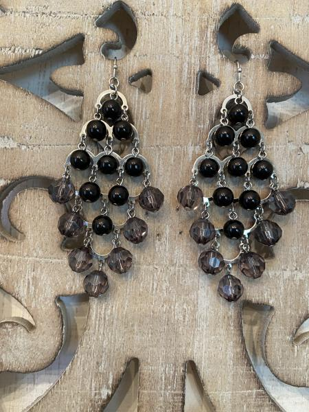 Silver and Black Bauble Earrings