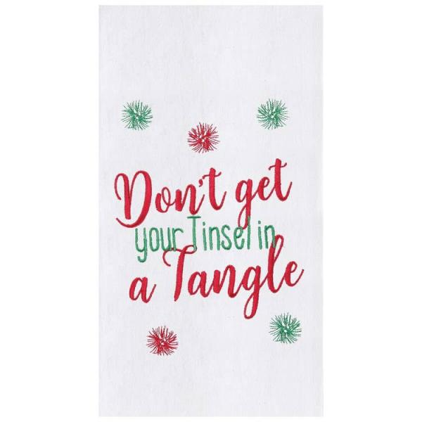 Tinsel In A Tangle Embroidered Flour Sack KitchenTowel