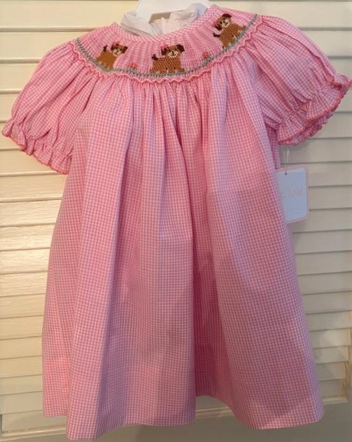 Pink smocked dress with puppy size 12m