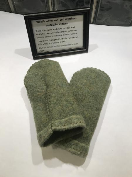 Heather Green Felted Mittens - Minky Fleece Lining