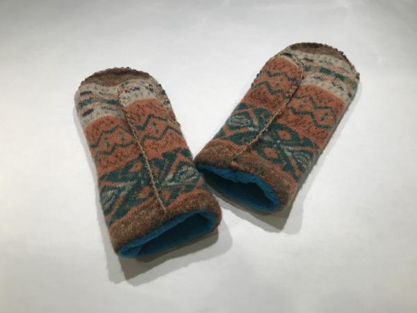 Fair Isle Felted Mittens - Teal Fleece Lining picture