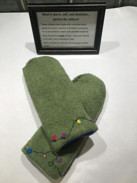 Green Felted Mittens with Embroidery - Violet Fleece Lining