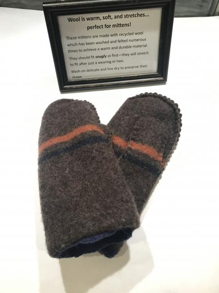 Brown with Navy and Orange Stripe Felted Mittens - Navy Minky Fleece Lining