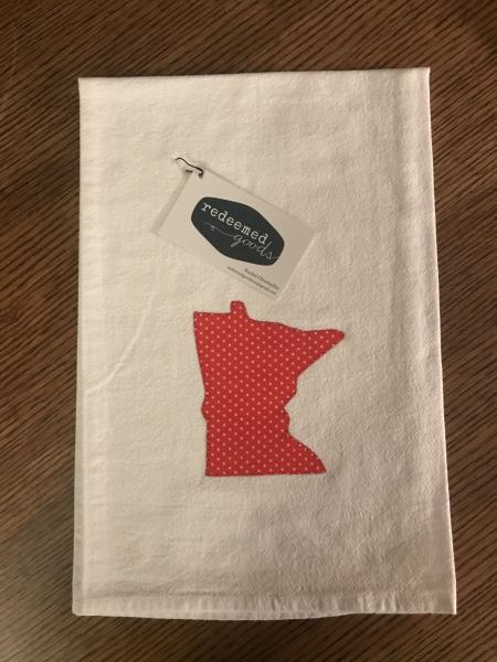 Minnesota Dish Towel - Red with White Dots