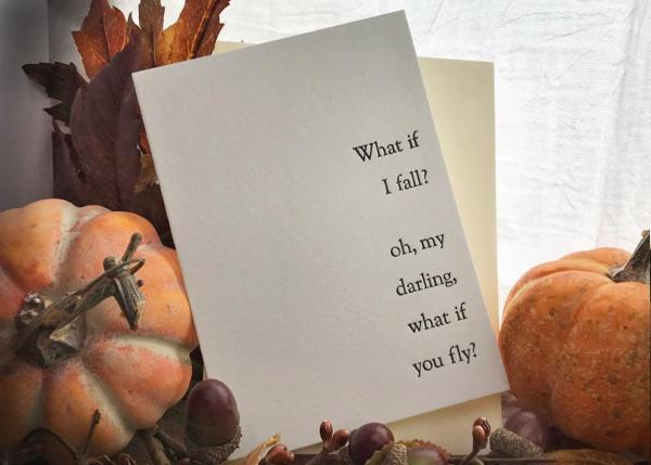 """What if you Fly?"" Letterpress Card."