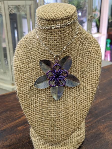 Sterling and Niobium Flower necklace