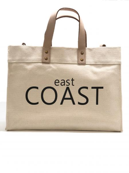 Kim Small Canvas Box Tote with Vinyl East Coast or West Coast
