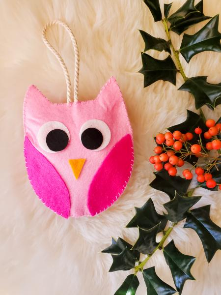 Felt Owl Christmas Ornament