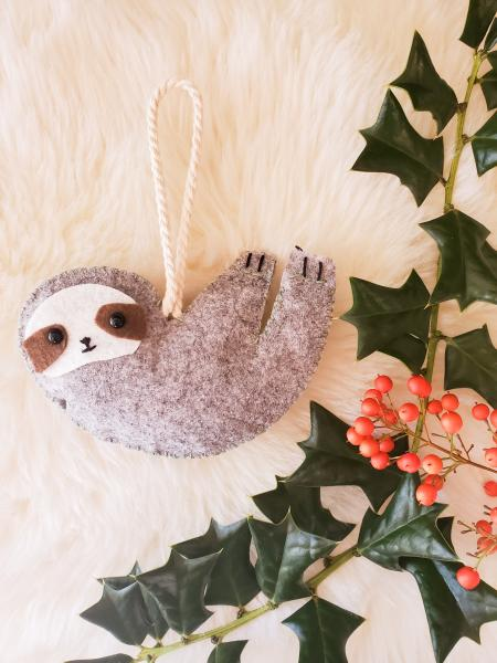 Felt Sloth Christmas Ornament