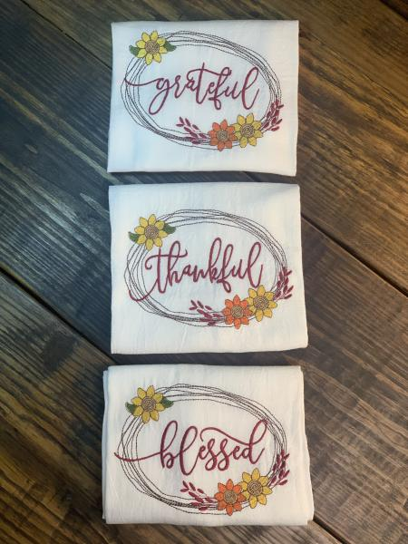 Grateful, Thankful, Blessed Kitchen Towels