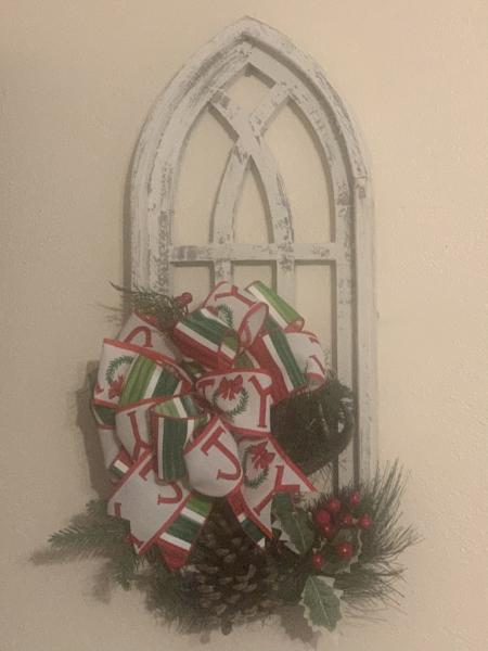 Large White distressed Chrostmas Arch
