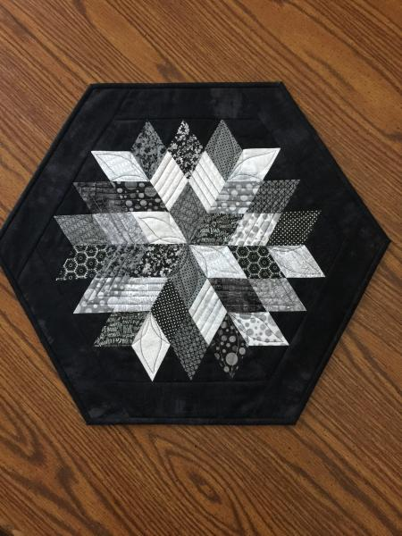 Large black/white hexagon table topper