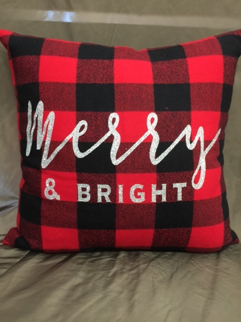 Merry & Bright Christmas pillow picture