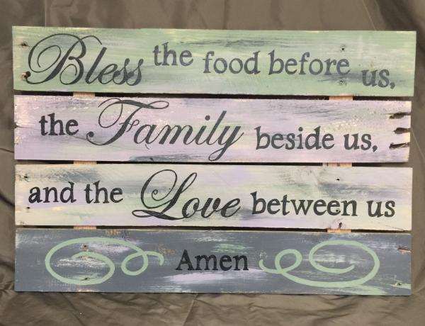 "Green and gray ""Bless this food"" wall art"