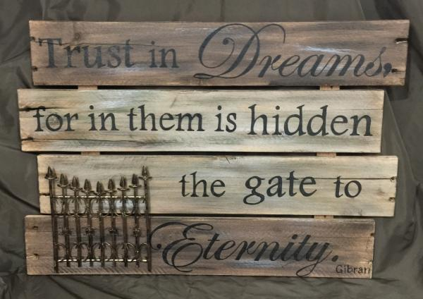 Brown Trust in dreams wall art