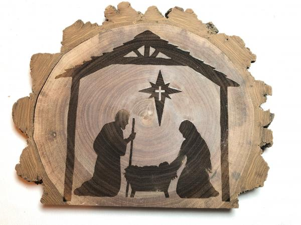 Nativity shelf plaque, solid walnut, natural bark edge