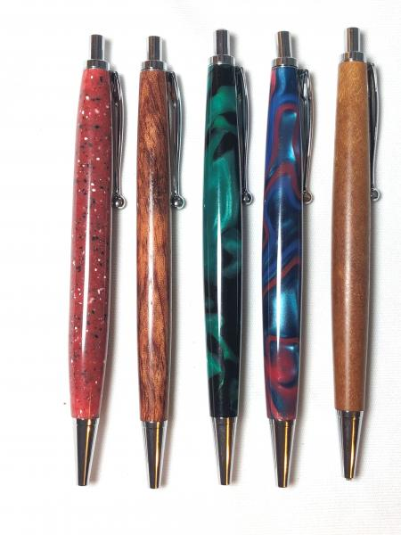 Slimline Click style, made with various woods or acrylics, chrome hardware.