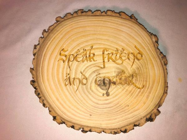 Speak Friend wall plaque, solid ash