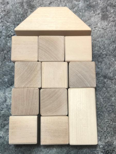 wooden blocks, maple or birch, natural, set of 12