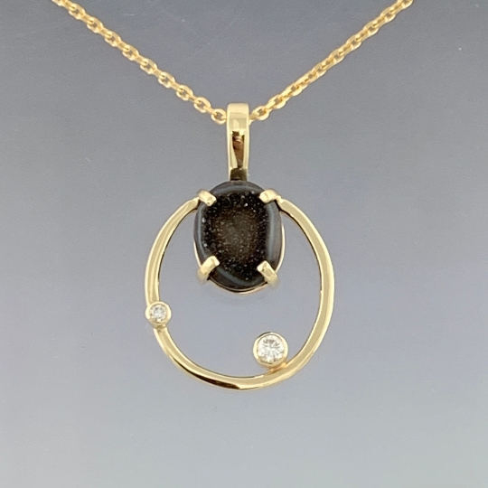 14kt Yellow Gold Drusy-Druzy and diamond oval pendant with gold chain, ready to ship, one of a kind