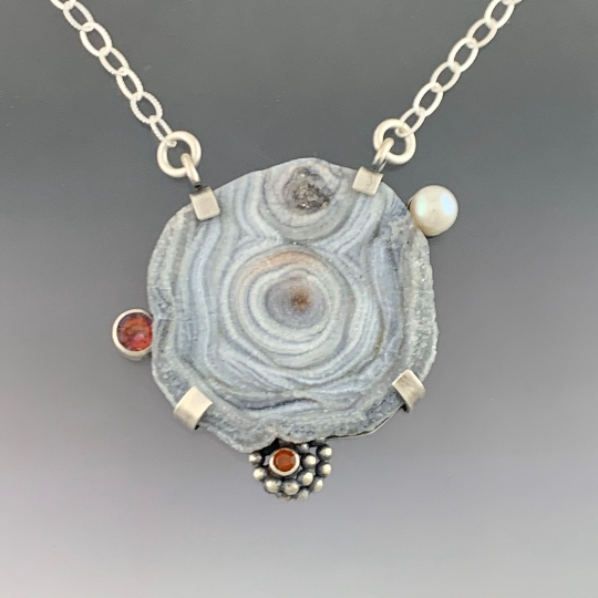 Galaxy Drusy, Anastasia Topaz, Mandarin Garnet and Fresh Water Pearl Pendant Necklace, One of a kind, ready to ship