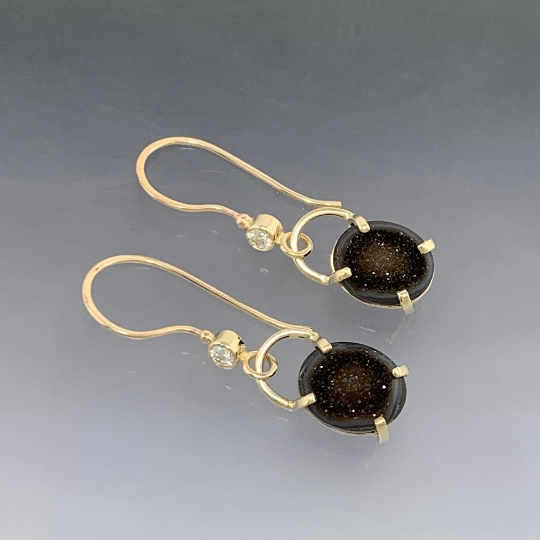 14kt Solid Yellow Gold Drusy-Druzy and diamond dangle earrings, ready to ship, one of a kind