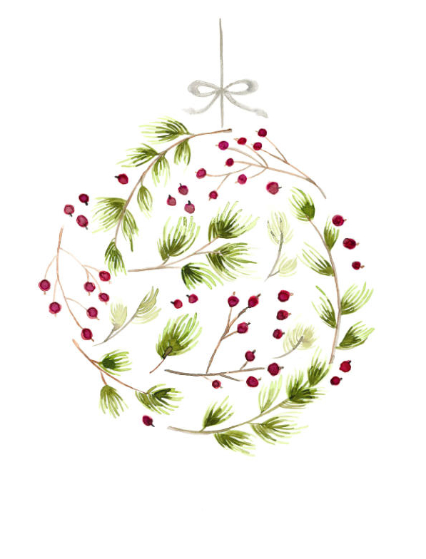 Pine and Berry Ornament Print