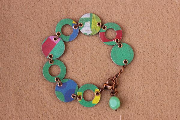 B323 Tin & Copper Ring & Disc Bracelet