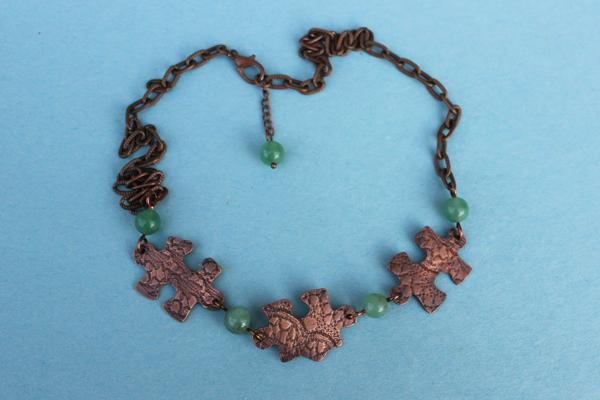 N322 Lace Textured Copper Puzzle Pieces Necklace