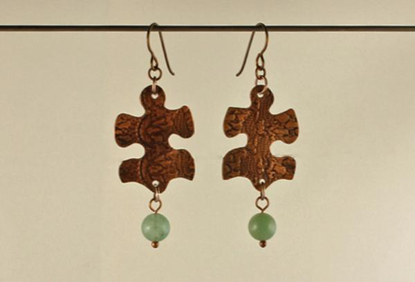 E281 Copper Puzzle Piece & Aventurine picture