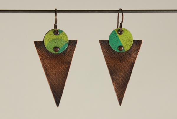 E433 Riveted Tin on Copper Triangle Earrings