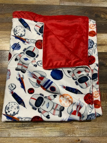 Space/Red Minky Blanket