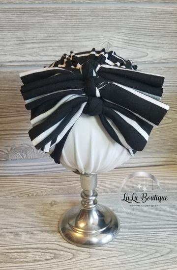 Black and White Stripe Baby Headwrap- 3 STYLES!