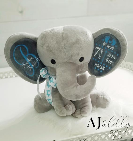 Personalized Baby Elephant- Gray