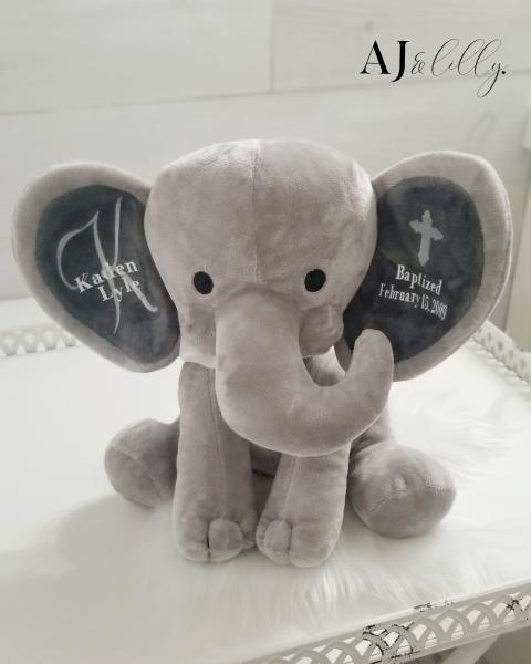 Personalized Baby Elephant- Baptism Gray
