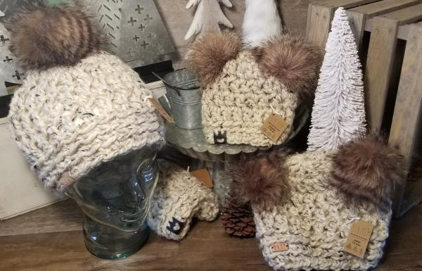 AJ HATS-handmade. fleece lined.WARM-  Oatmeal