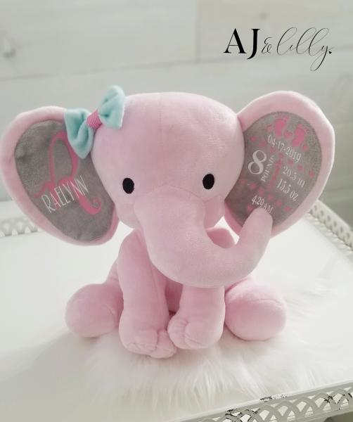 Personalized Baby Elephant - Pink