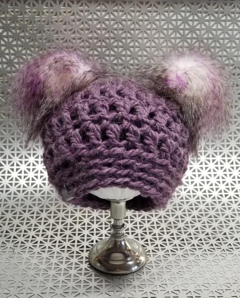 AJ HATS-handmade. fleece lined.WARM-  Sugar Plum