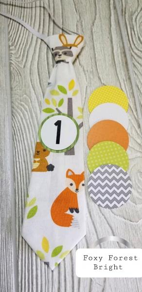 FOXY FOREST BRIGHT-MONTHLY MILESTONE TIES PHOTO PROP