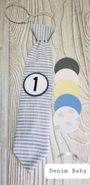 DENIM BABY-MONTHLY MILESTONE TIES PHOTO PROP