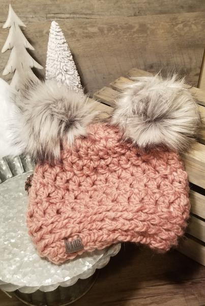 AJ HATS-handmade. fleece lined.WARM-  Blush
