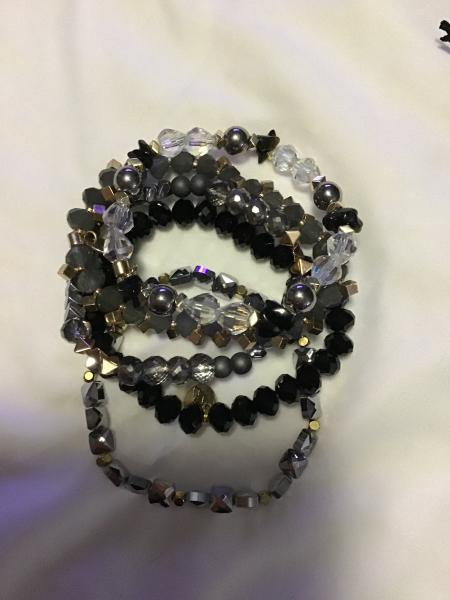 Erimish Charcoal Bracelet Set,  5pcs