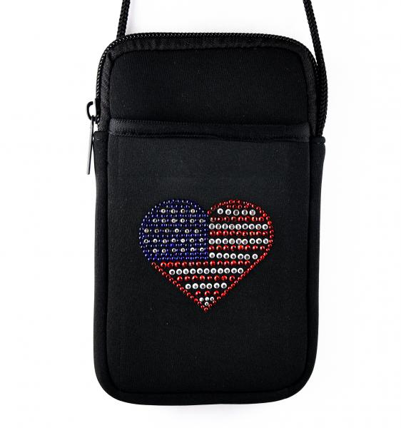 American Flag Heart Pami Pocket Cell Phone Purse