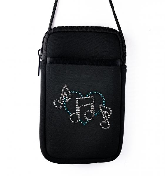 Music Notes and Heart Pami Pocket Cell Phone Purse