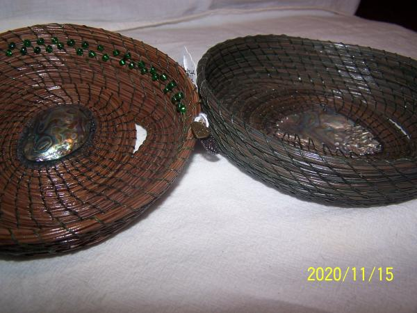 Pine Needle Basketry With Abalone