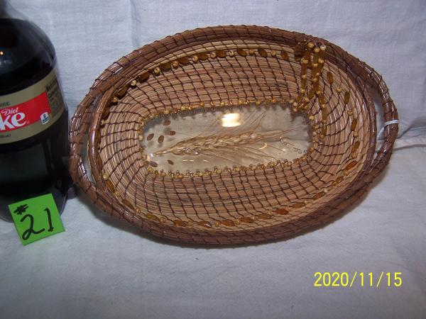 Wheat in a Pine Needle Basket