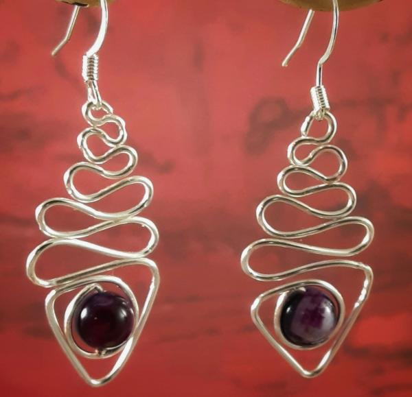 Curved Wire Earring with Purple Bead