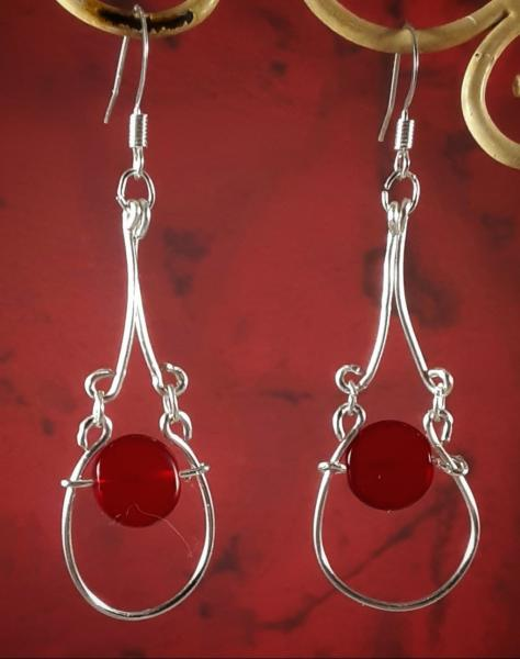 Victorian Wire Earrings w/Red Beads